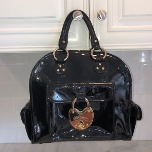 Betsey Johnson Black Patent Leather Lock Satchel